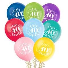 40th Birthday Balloons Assorted Colours (Pack of 8)
