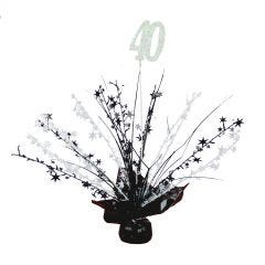 40th Black & White Balloon Weight Table Centrepiece