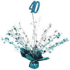 40th Teal Balloon Weight Table Centrepiece