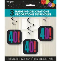 Birthday Cheer 40th Hanging Decorations (Pack of 3)