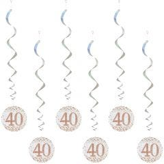 Sparkling Fizz 40th Holographic Rose Gold & White Swirls (Pack of 6)