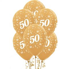 All Over 50th Birthday Gold Balloons (Pack of 6)