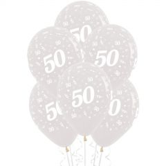 50th Jewel Crystal Clear Balloons (Pack of 6)