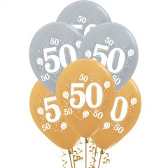 Silver & Gold 50th Party Balloons (Pack of 10)