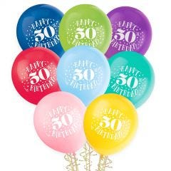 50th Birthday Balloons Assorted Colours (Pack of 8)