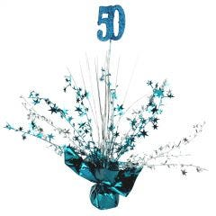 50th Teal Balloon Weight Table Centrepiece