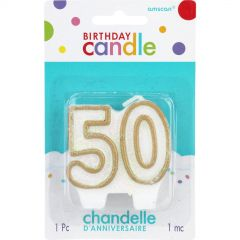 Gold 50th Birthday Candle