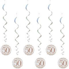 Sparkling Fizz 50th Holographic Rose Gold & White Swirls (Pack of 6)