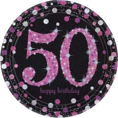 Pink Celebration 50th Birthday Large Paper Plates (Pack of 8)