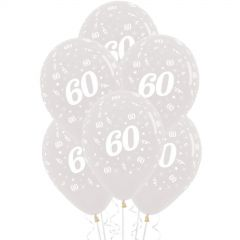 60th Jewel Crystal Clear Balloons (Pack of 6)