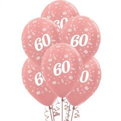 All Over 60th Birthday Rose Gold Balloons (Pack of 6)
