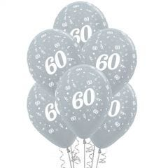 All Over 60th Birthday Silver Balloons (Pack of 6)