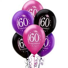 Pink Celebration 60th Birthday Balloons (Pack of 6)