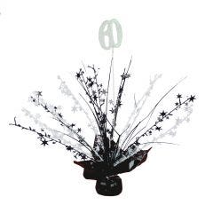 60th Black & White Balloon Weight Table Centrepiece