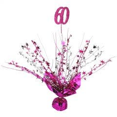 60th Hot Pink Balloon Weight Table Centrepiece