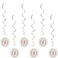 Sparkling Fizz 60th Holographic Rose Gold & White Swirls (Pack of 6)