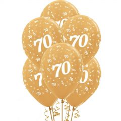 All Over 70th Birthday Gold Balloons (Pack of 6)
