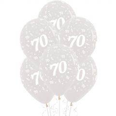 70th Jewel Crystal Clear Balloons (Pack of 6)