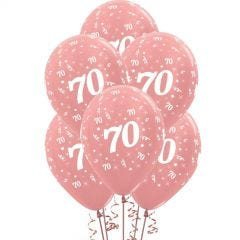 All Over 70th Birthday Rose Gold Balloons (Pack of 6)