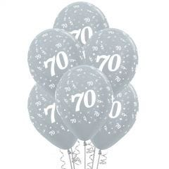 All Over 70th Birthday Silver Balloons (Pack of 6)