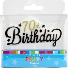 70th Gold and Black Stars Candle