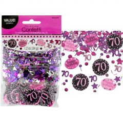 Pink Celebration 70th Birthday Confetti/Table Scatters