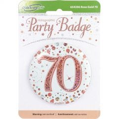 Sparkling Fizz 70th Holographic Rose Gold & White Badge