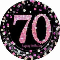 Pink Celebration 70th Birthday Large Paper Plates (Pack of 8)