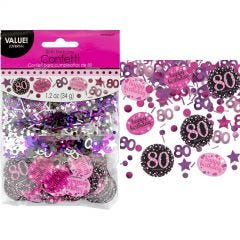 Pink Celebration 80th Birthday Confetti/Table Scatters