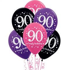 Pink Celebration 90th Birthday Balloons (Pack of 6)