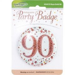 Sparkling Fizz 90th Holographic Rose Gold & White Badge