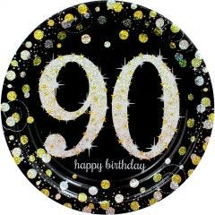 Sparkling Celebration 90th Birthday Large Paper Plates (Pack of 8)