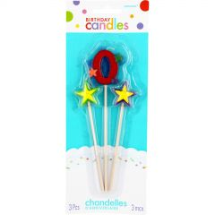 Number 0 Star Candles (Pack of 3)