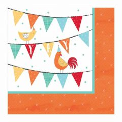 Farm Party Small Napkins / Serviettes (Pack of 16)