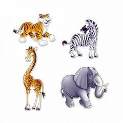 Jungle Animal Cutout Decorations (Pack of 4)