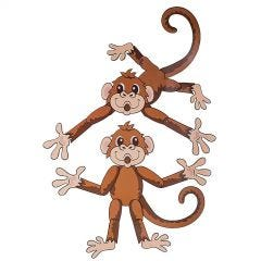 Large Jointed Monkey Cutouts (Pack of 2)
