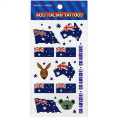Australia Themed Tattoos Flags and Animals (1 Sheet)