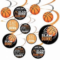 Basketball Swirl Decorations (Pack of 12)