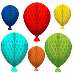 Balloon Bash Honeycomb Hanging Decorations (Pack of 6)