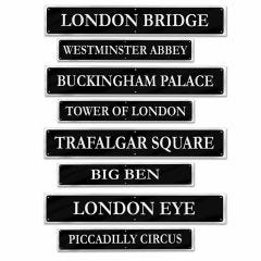 British Street Sign Decorations (Pack of 4)