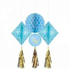Baby Shower Boy Blue Honeycomb & Gold Tassel Decorations (Pack of 3)
