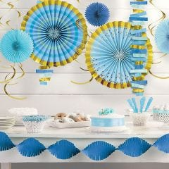 Blue Baby Shower Swirl Decorations (Value Pack of 30)