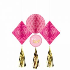 Baby Shower Girl Pink Honeycomb & Gold Tassel Decorations (Pack of 3)
