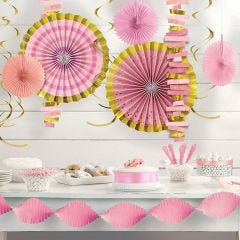 Pink Baby Shower Swirl Decorations (Value Pack of 30)