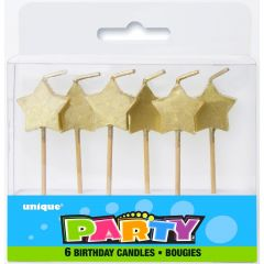 Gold Star Candles (Pack of 6)