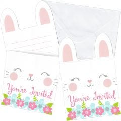 Floral Bunny Party Invitation Set (Pack of 8)