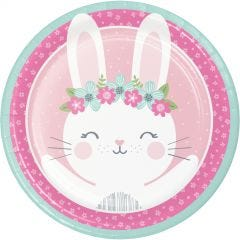 Floral Bunny Large Paper Plates (Pack of 8)