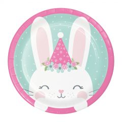 Floral Bunny Small Paper Plates (Pack of 8)