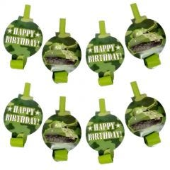 Camouflage Party Blowers (Pack of 8)