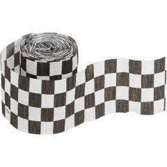 Black and White Chequered Crepe Streamer